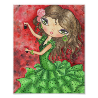 """""""Flamenco Dancer with Castanets"""" Poster"""