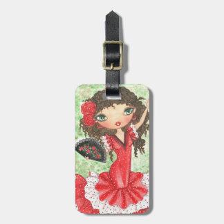 """Flamenco Dancer with Fan"" Bag Tag"