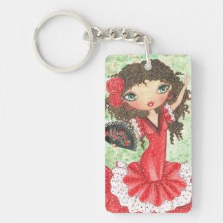 """Flamenco Dancer with Fan"" Double-Sided Rectangular Acrylic Keychain"