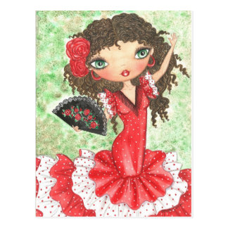"""Flamenco Dancer with Fan"" Postcard"