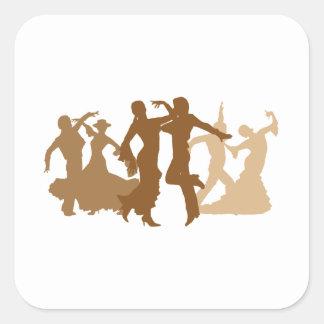 Flamenco Dancers Illustration Square Sticker