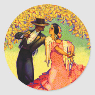 Flamenco Dancers under the Orange Trees Classic Round Sticker