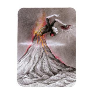 Flamenco dancing woman volcano surreal pencil art magnet