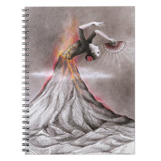 Flamenco dancing woman volcano surreal pencil art notebook