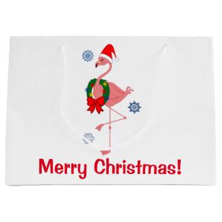 Flamenco del navidad con el gorra de Santa Bolsa De Regalo Grande