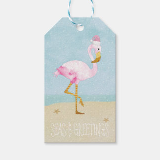 Flamenco del rosa de la acuarela de los mares y de etiquetas para regalos