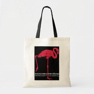 Flamenco del rosa del pájaro del vintage en el bolsa tela barata