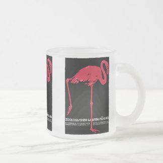 Flamenco del rosa del pájaro del vintage en el par taza de café
