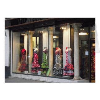 Flamenco dresses in Seville, Spain Card