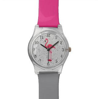 Flamenco elegante rosado femenino lindo relojes de pulsera