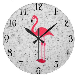 Flamenco elegante rosado femenino lindo reloj redondo grande