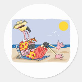 Flamenco en la playa pegatina redonda