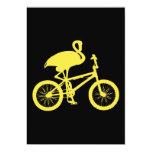 Flamenco en silueta de la bicicleta comunicado personalizado