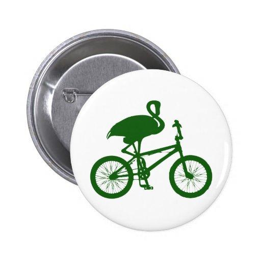 Flamenco en silueta de la bicicleta pin