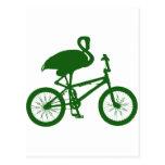 Flamenco en silueta de la bicicleta postales