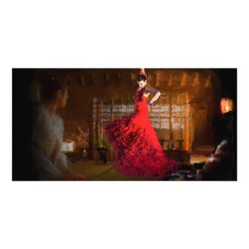 Flamenco fire lights a tea house in Tokyo, Japan Photo Card