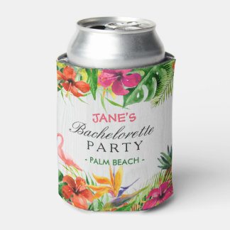 Flamenco floral tropical rústico del fiesta de enfriador de latas
