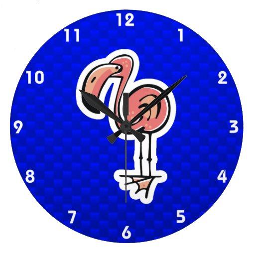 Flamenco lindo; Azul Reloj Redondo Grande