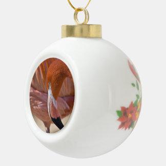 Flamenco llameante adorno de cerámica en forma de bola