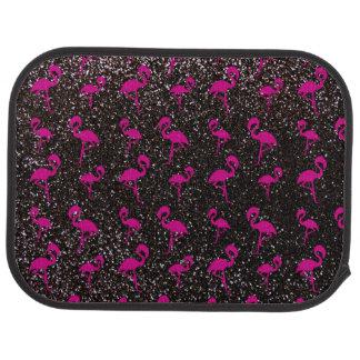 Flamenco negro del rosa del brillo alfombrilla de auto