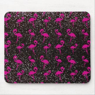 Flamenco negro del rosa del brillo tapete de ratón
