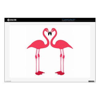 Flamenco-pájaro-amor-corazón rosado calcomanía para portátil