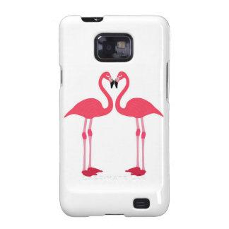 Flamenco-pájaro-amor-corazón rosado galaxy SII fundas