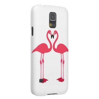 Flamenco-pájaro-amor-corazón rosado fundas de galaxy s5
