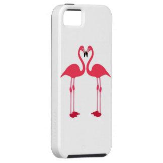 Flamenco-pájaro-amor-corazón rosado iPhone 5 coberturas