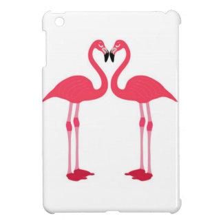 Flamenco-pájaro-amor-corazón rosado iPad mini coberturas