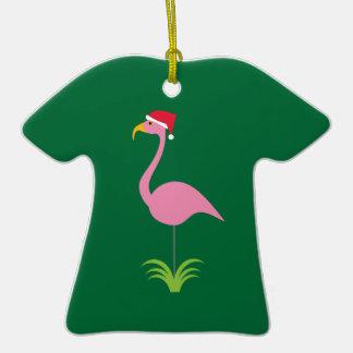 Flamenco personalizado diversión del navidad para adorno de cerámica en forma de camiseta