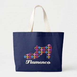 Flamenco Polka Dots Large Dark Canvas Bag