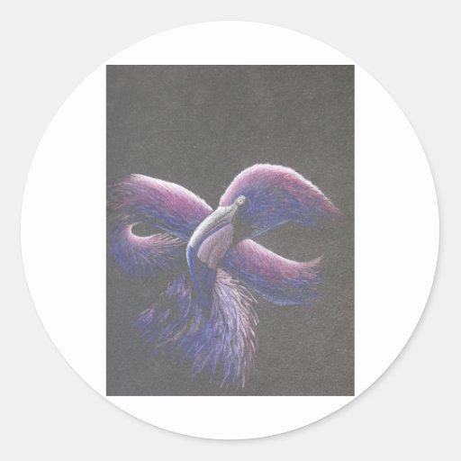 Flamenco púrpura pegatinas redondas