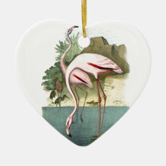 Flamenco rojo adorno navideño de cerámica en forma de corazón