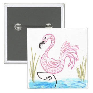 Flamenco rosado #13 pin cuadrado
