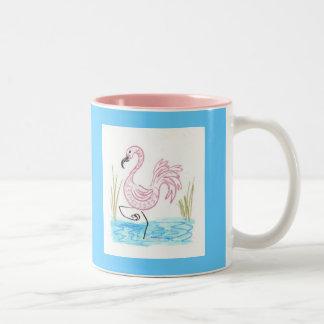 Flamenco rosado 13 taza de café de dos colores