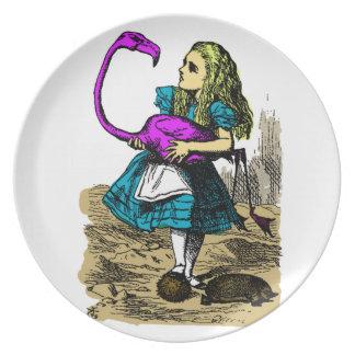 Flamenco rosado Alicia en placa del país de las Plato
