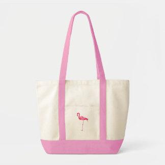 Flamenco rosado bolsa lienzo