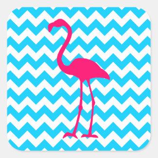 Flamenco rosado brillante pegatina cuadrada