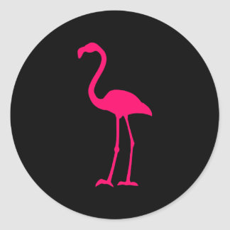 Flamenco rosado brillante pegatina redonda