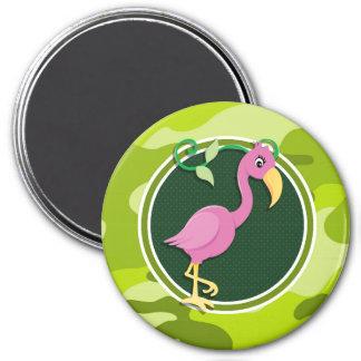 Flamenco rosado; camo verde claro, camuflaje iman para frigorífico
