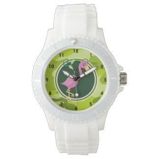 Flamenco rosado; camo verde claro, camuflaje reloj