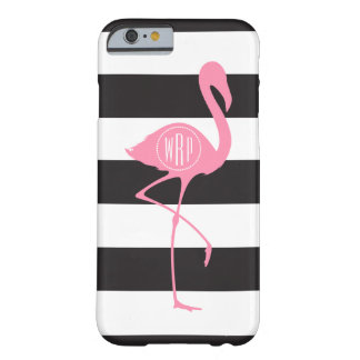 Flamenco rosado con monograma + Negro + Rayas Funda De iPhone 6 Barely There