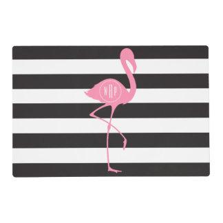 Flamenco rosado con monograma + Negro + Rayas Salvamanteles