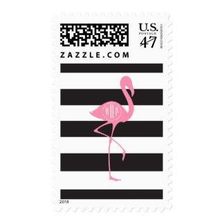Flamenco rosado con monograma + Negro + Rayas Sello Postal
