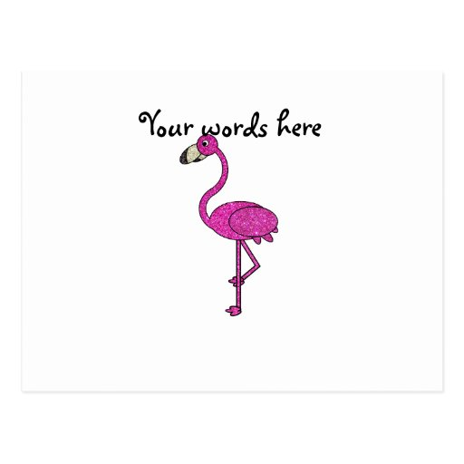 Flamenco rosado del brillo postales