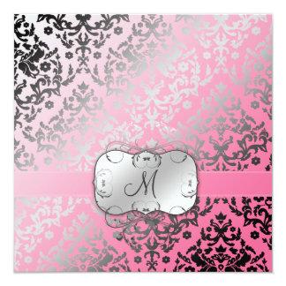 Flamenco rosado del damasco del deslumbramiento invitación 13,3 cm x 13,3cm