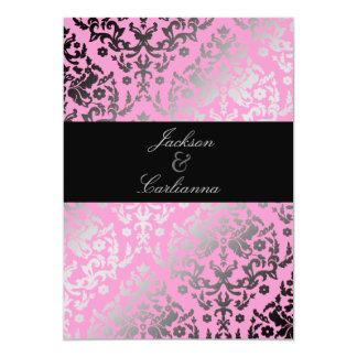 Flamenco rosado del damasco del deslumbramiento invitación 12,7 x 17,8 cm