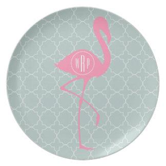 Flamenco rosado del monograma + Quatrefoil Platos Para Fiestas