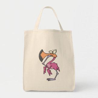 flamenco rosado divertido con el pie en boca bolsas